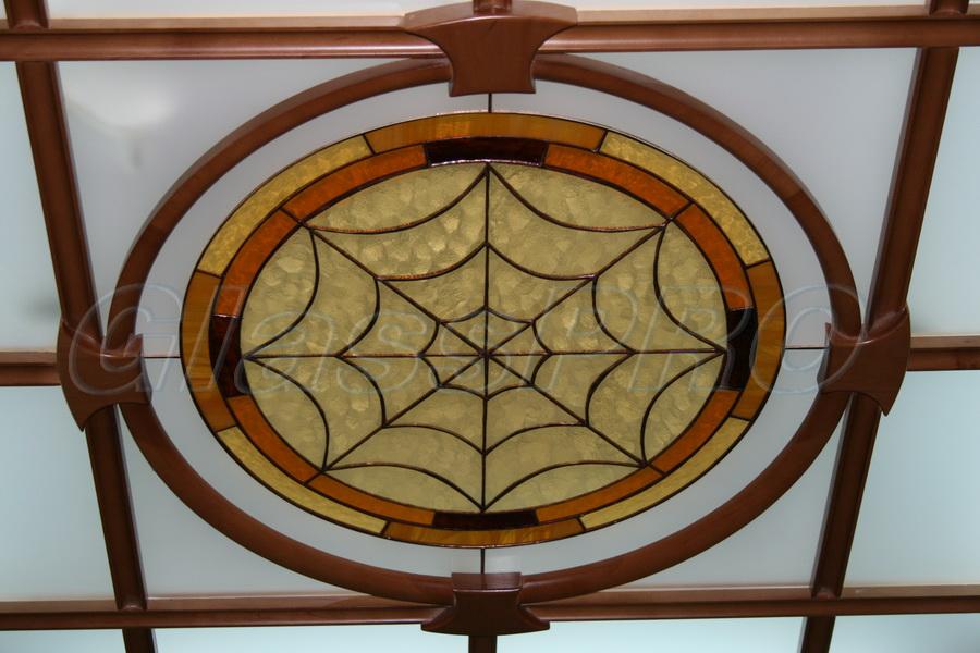 Витраж Тиффани, фрагмент стеклянного подвесного потолка, офис - Киев