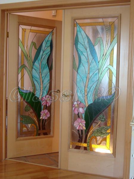 Витраж Тиффани, двухстворчатая межкомнатная дверь, квартира - Киев