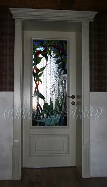 Витраж Тиффани, интерьерная дверь, частный дом - Киев