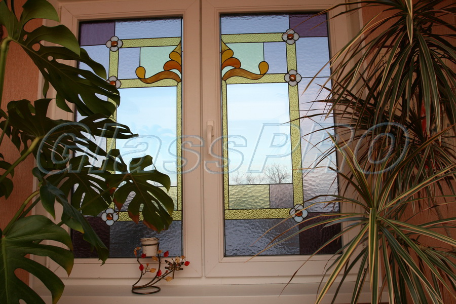 Витраж Тиффани, окно, частный дом - Киев