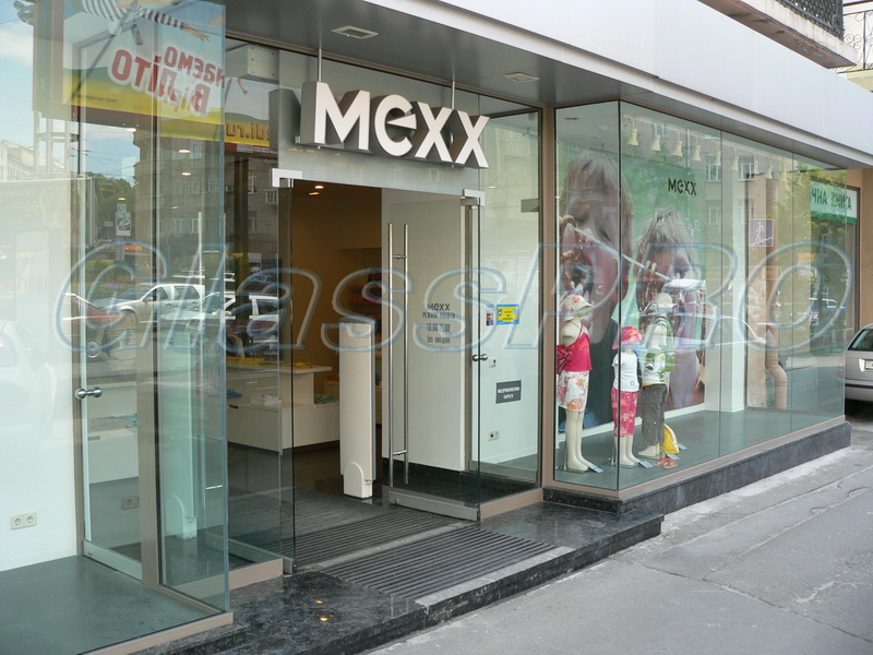 "Facade construction, non-profile glazing, ""MEXX"" clothing salon - Kyiv"