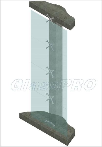 Схема спайдерного остекления с креплением к несущей конструкции