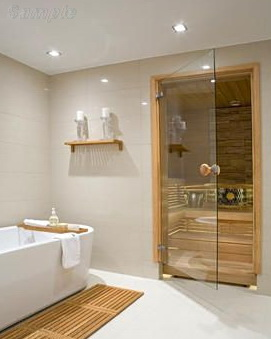 Model SN-01. Glass door for steam rooms and saunas with round alder handle