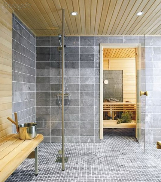 Model SN-01. Glass door for baths and saunas made of clear glass with round alder handle