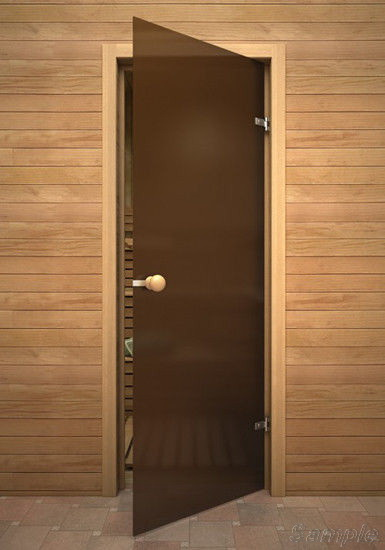 Model SN-01. Glass door for steam rooms and saunas made of bronze frosted glass