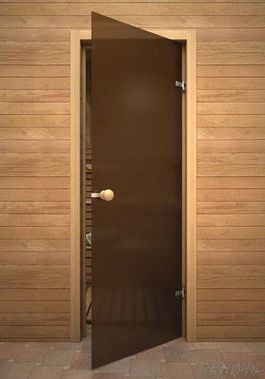Модель SN-01. Стеклянная дверь для бани и сауны из бронзового матового стекла