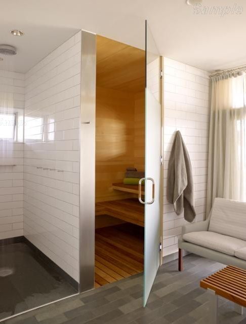 Model SN-01. Glass door for steam rooms and saunas made of frosted glass