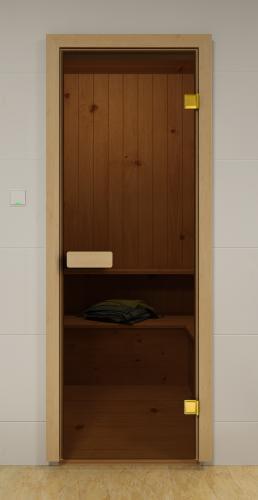 Model SN-01. Glass door for baths and saunas made of bronze transparent glass