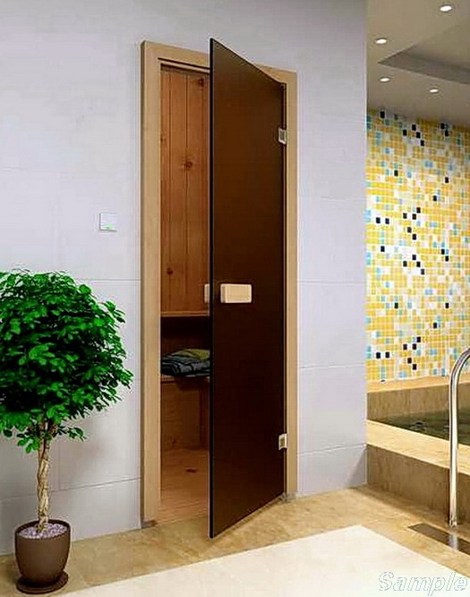 Model SN-01. Glass door for steam rooms and saunas made of frosted bronze glass