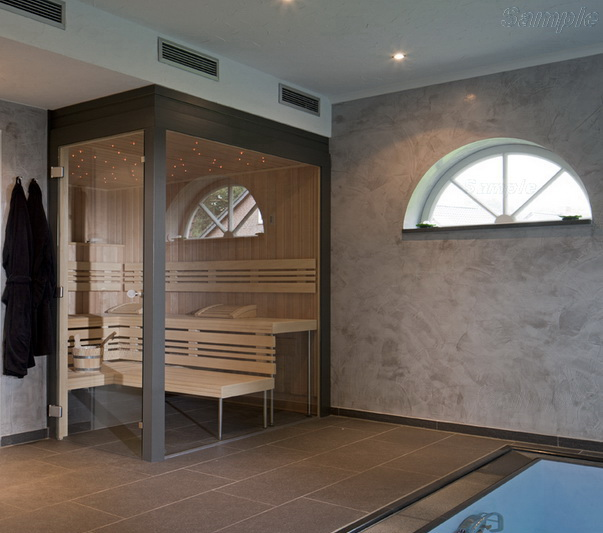 Model SN-03. Glass screen for sauna, steam room or hamam