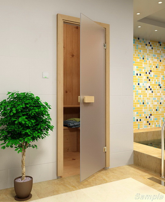 Model SN-01. Glass door for steam rooms and saunas made of clear frosted glass