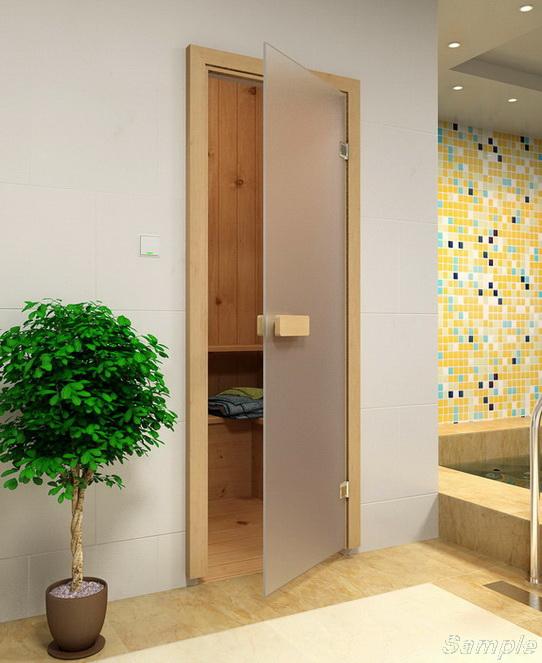Модель SN-01. Стеклянная дверь для бани и сауны из бесцветного матового стекла