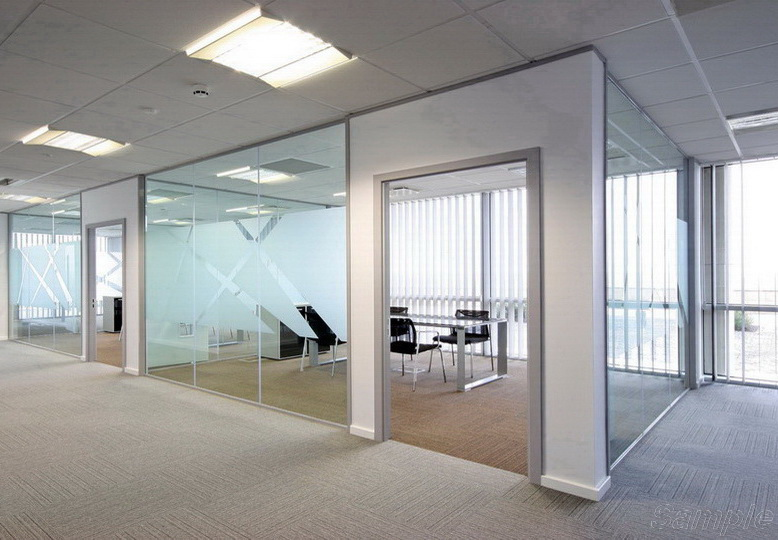 Tempered glass is the best choice for building partitions in an office space