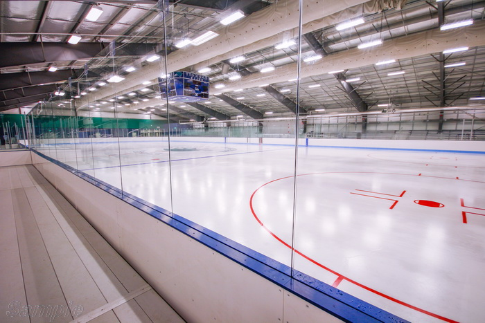 Tempered glass is used for fencing ice arenas