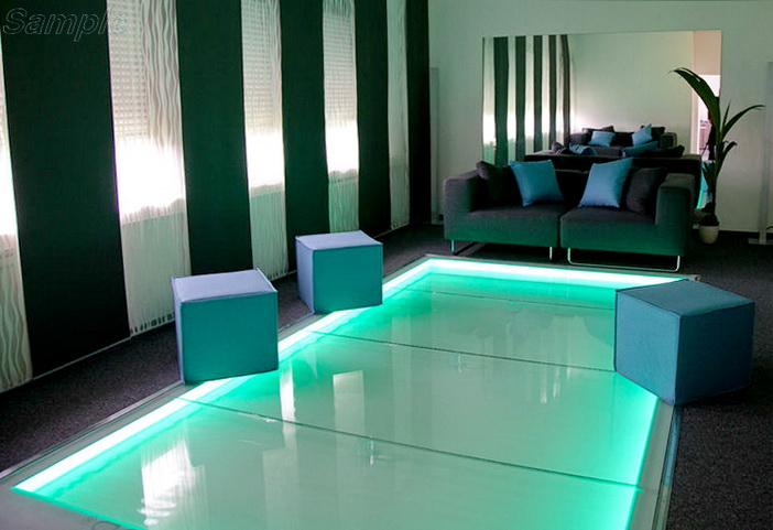 Tempered glass is used for floorings with decorative lighting