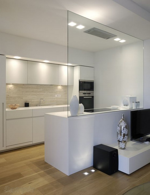 Glass partition in kitchen