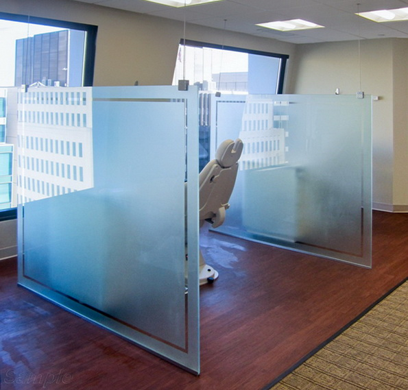 Glass partitions are used in dental offices