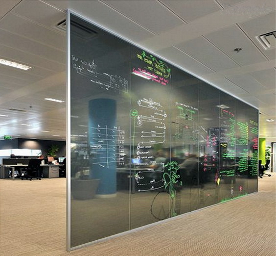 Glass office partitions as an information board