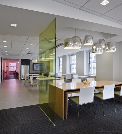 Glass partition in the office center dining room