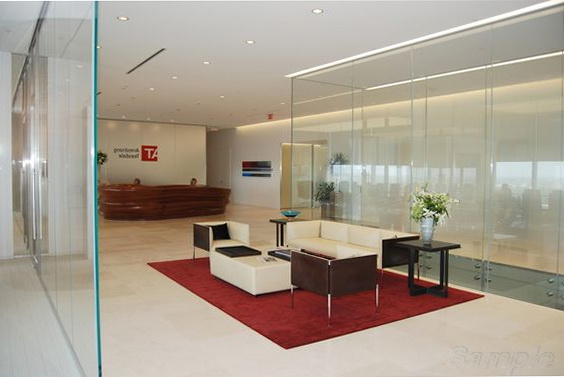 Glass partitions in hall