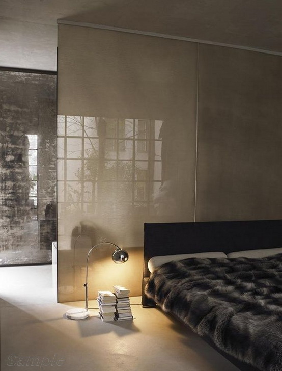Glass partitions separate the sleeping space from other functional areas of the studio apartment