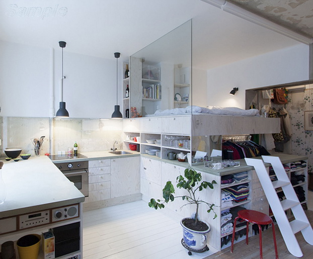 Glass partition in a studio apartment