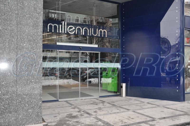 Стеклянные панели (эмалит) для облицовки фасада, точечное крепление, бизнес-центр «Millennium» - Киев