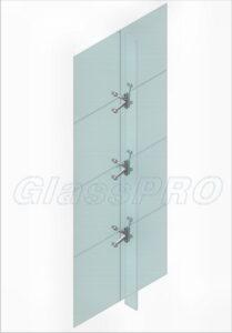 Схема крепления на стеклянные ребра жесткости (вид изнутри)