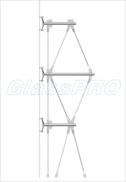 Layout of spider glazing with cable system mounting