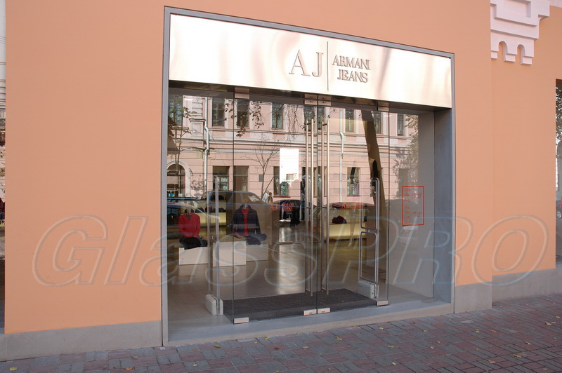 All-glass swing storefront, facade structure, «Armani Jeans» store - Kyiv