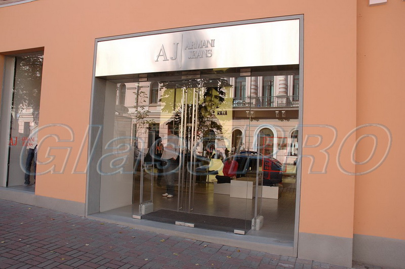 All-glass storefront, shop window, , «Armani Jeans» store - Kyiv