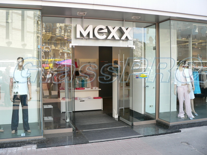 All-glass facade structure with swing storefront, «MEXX» clothing salon - Kyiv