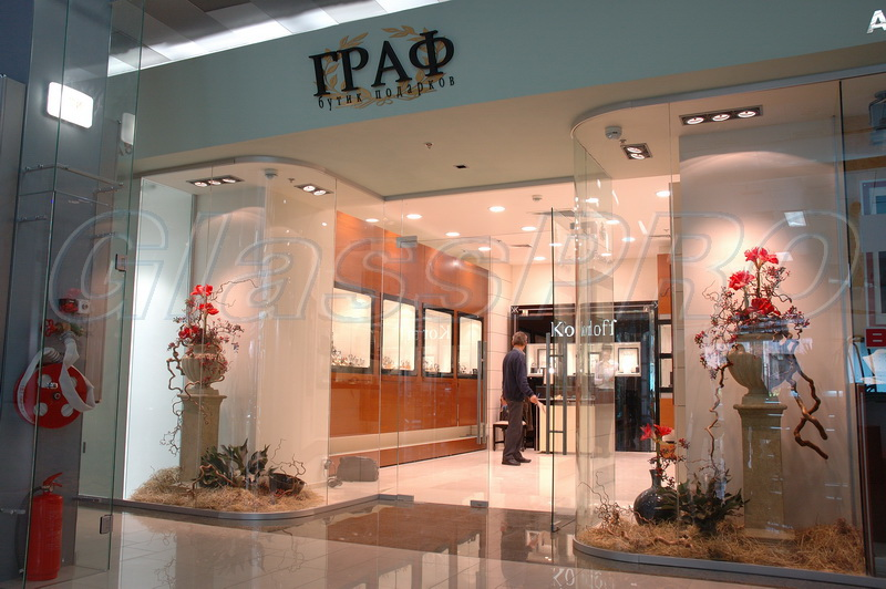 "All-glass structure with swing storefront, boutique zone, ""Metrograd"" mall - Kyiv"