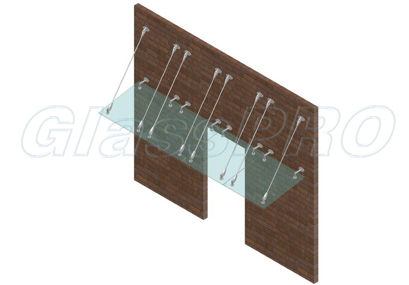Layout of installing composite glass canopy on truss rods