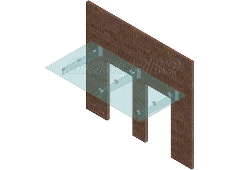 Схема составного стеклянного козырька на консольных стеклянных ребрах