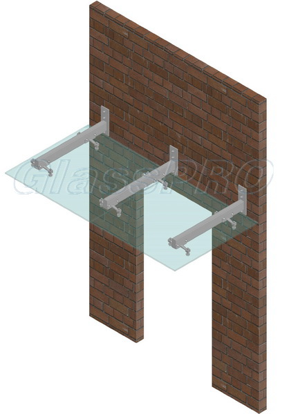 Layout of composite glass canopy on cantilever metal structure