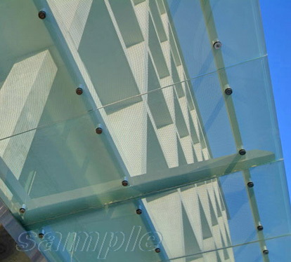 Element of glass canopy on frame cantilever structure