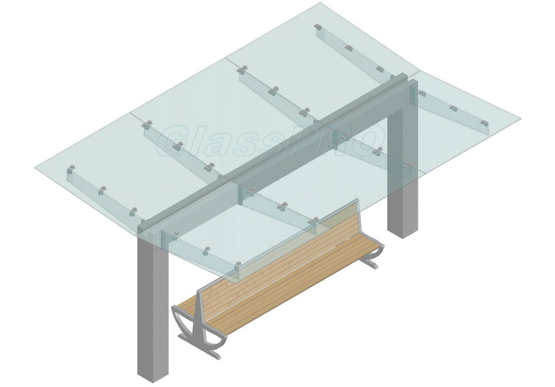 Схема конструкции стеклянного навеса с применением консольных стеклянных ребер