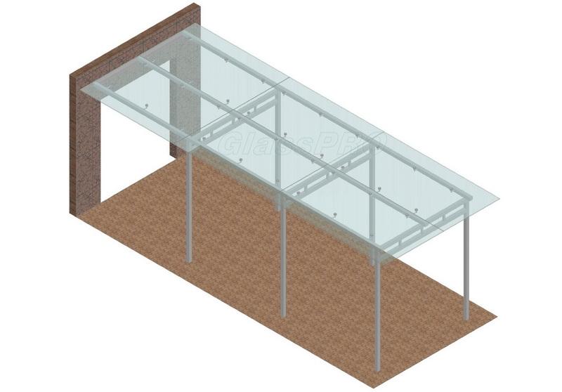Схема конструкции навеса из стекла, монтаж стекла на точечных креплениях