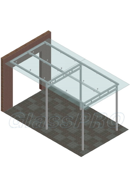Стеклянный навес на металлических опорах (схема)