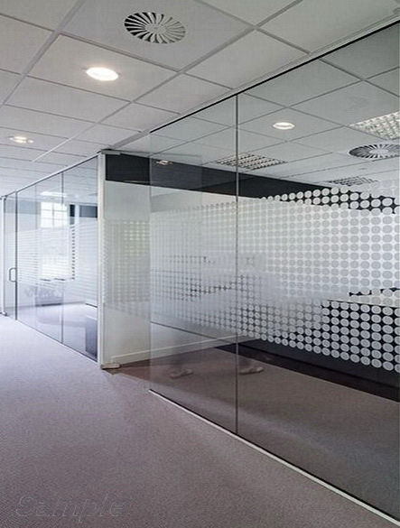 Glass office partitions with swing doors