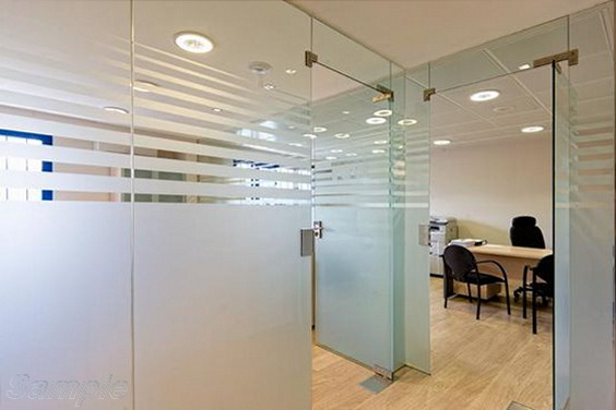 Glass office partitions with swing pendulum door