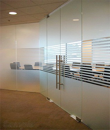 Glass office partitions with double leaf swing door