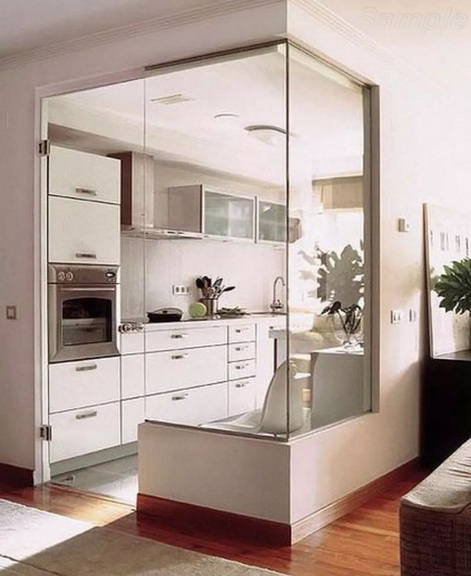 Glass partitions with a swing door separating the kitchen from the living room