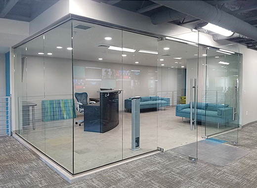 Glass partitions with swing door