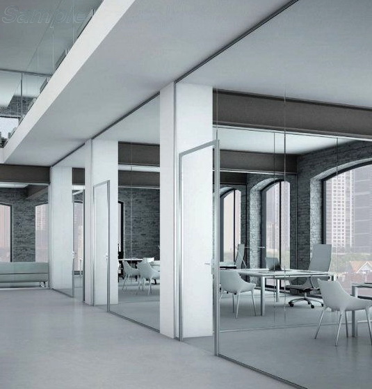 Glass partitions with a swing door in an aluminum frame