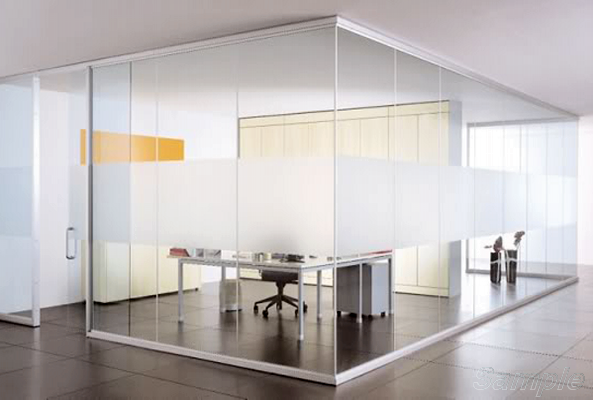 Glass partitions with a swing door in an aluminum