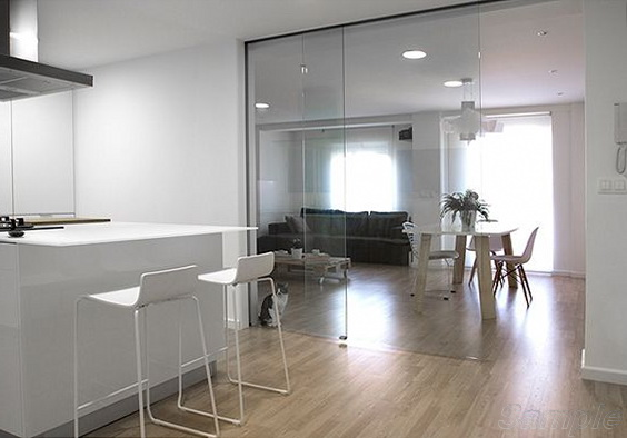 Glass office partitions in a residential area