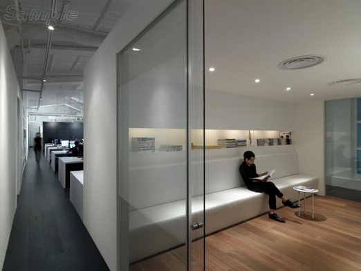 Glass office partitions with sliding door in recreation area