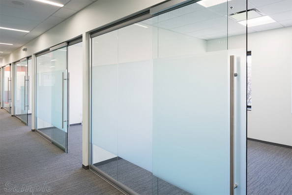 Glass office partitions with sliding door